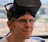 John Carmack wearing the Oculus Rift headset
