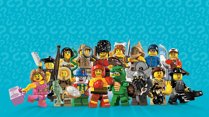 A lineup of characters from Lego Minifigures Online.