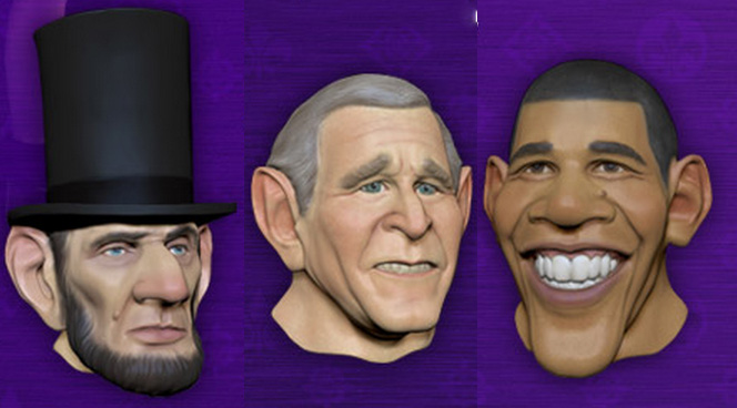 Three of the four presidential faces you can get when you preorder Saints Row IV from GameStop or EB Games.
