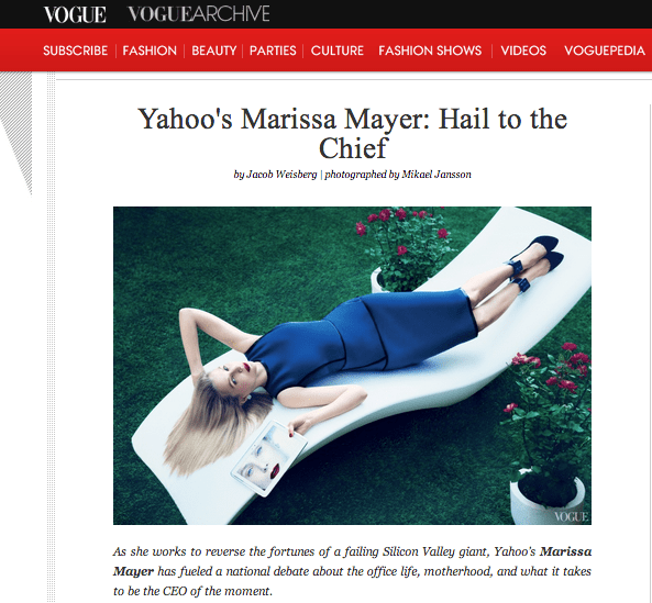 A screenshot from that Marissa Mayer Vogue shoot