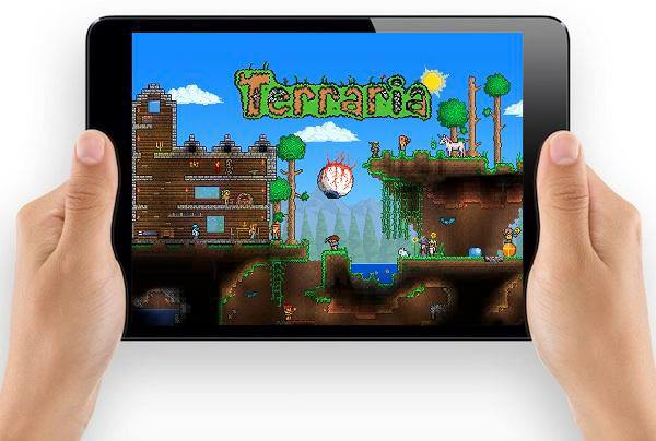 Side-scrolling exploration game Terraria for mobile devices.