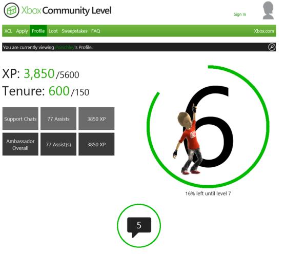 The Xbox Community Level profile.