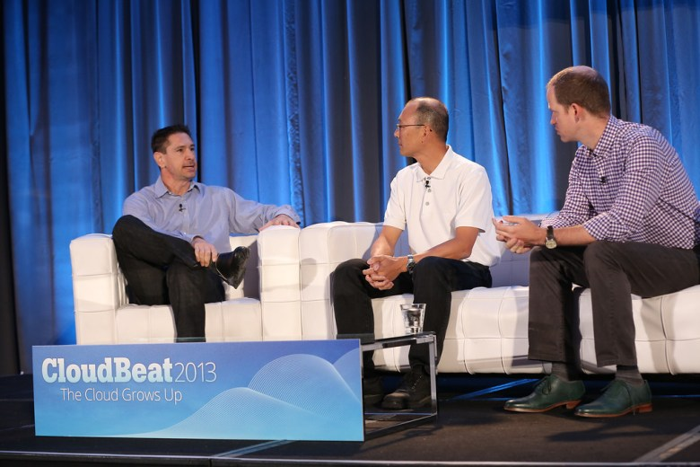 Dell's Barton George, PayPal's Stan Hsu, and Puppet Labs CEO Luke Kanies onstage at CloudBeat 2013.