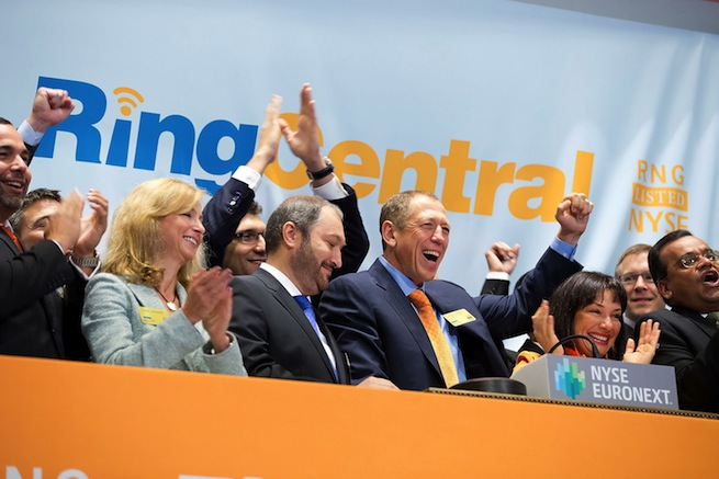 RingCentral staffers ring the investors' bell at the New York Stock Exchange.