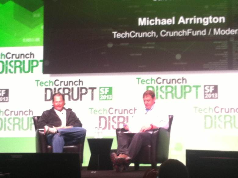 Salesforce CEO Marc Benioff during a fireside chat with Michael Arrington.