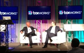 Former San Francisco mayor Gavin Newsom and former D.C. mayor Adrian Fenty at BoxWorks