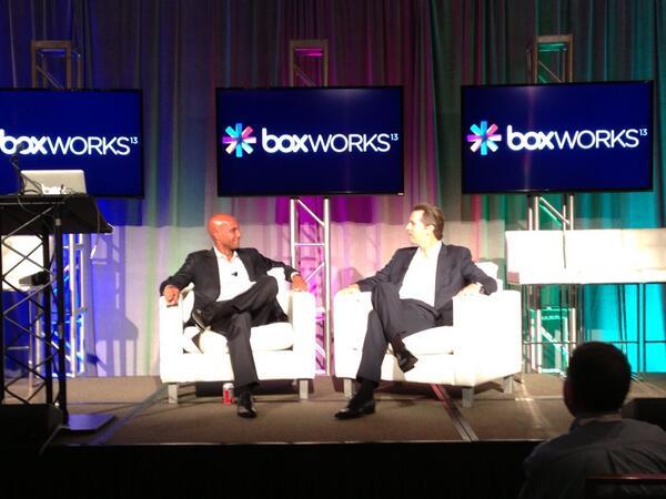 Former San Francisco mayor Gavin Newsom and former D.C. mayor Adrian Fenty at BoxWorks