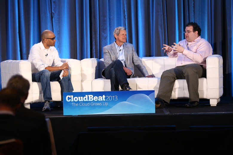 Sam Charrington, John Dillon of Engine Yard, and Michael Smith of Canvas, onstage at CloudBeat 2013.