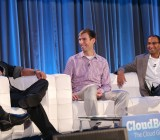 Peter Lopez (left), the system architect at Disney Interactive, talks about his use of OpenStack and Cloudstack at CloudBeat 2013.