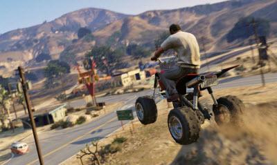 Grand Theft Auto V's Trevor riding an ATV.