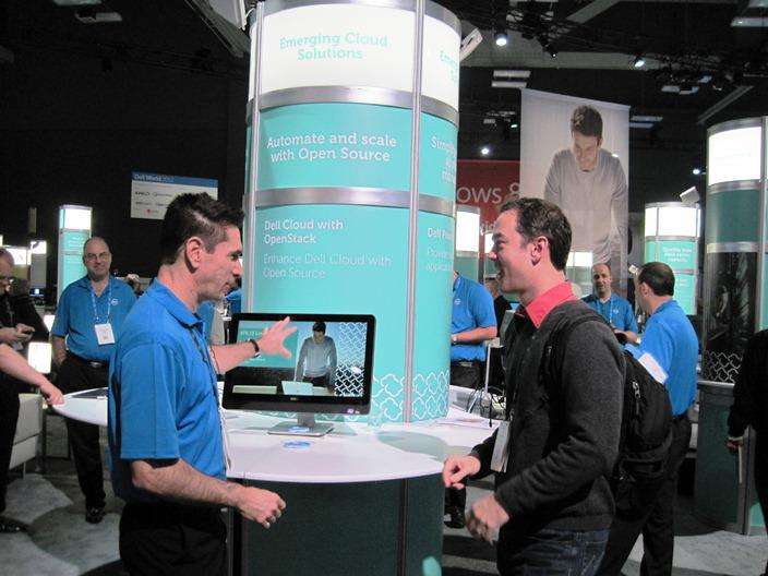 Dell's Barton George (left) speaking with a developer at a recent conference