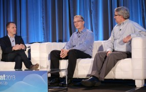 Dean Ernst (center), the director of marketing and social media at LED Source, explains the importance of integrating data from multiple cloud software products at CloudBeat 2013.