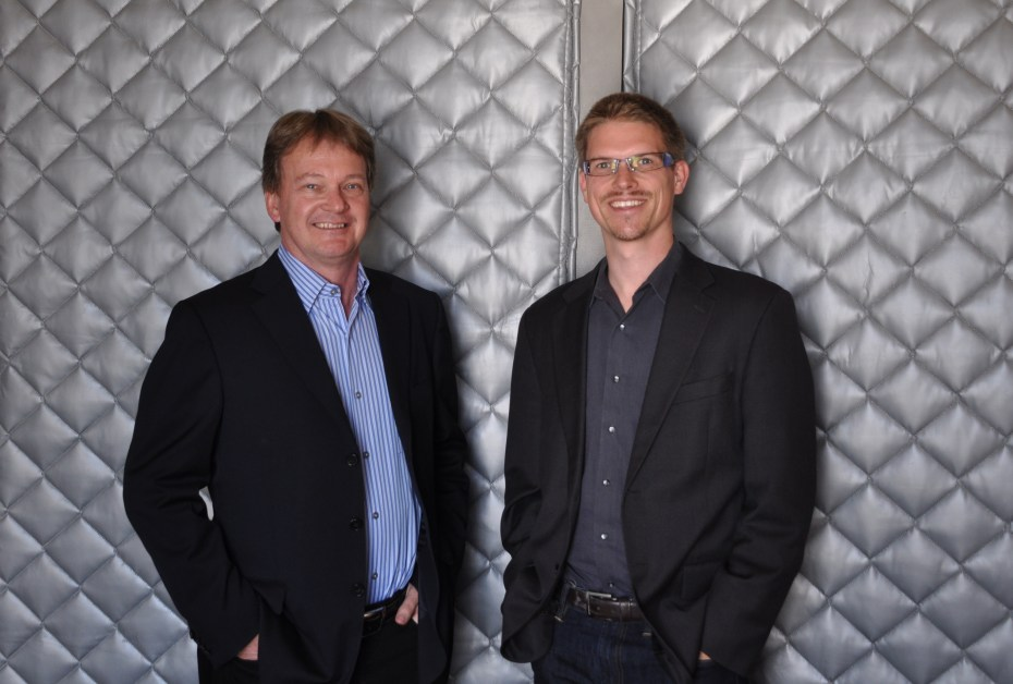 Gordon Stitt, left, and Chris Kemp. Kemp will pass the chief executive reins of the company to Stitt later this month.