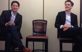Box's Chris Yeh and Aaron Levie at a press Q&A