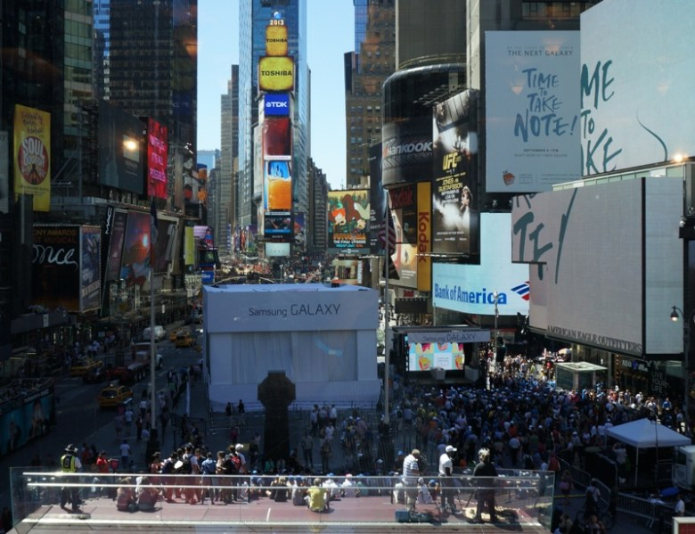 Bird's-eye view of Samsung's Unpacked simulcast in Times Square