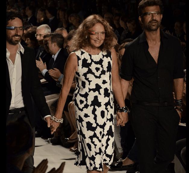 Google co-founder Sergey Brin, designer Diane von Furstenberg and creative director of Diane von Furstenberg Yvan Mispelaere