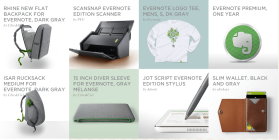 New products are available for purchase on Evernote's online marketplace