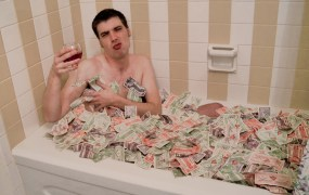 What else can you do with all that money but bathe in it?