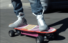ZBoard's hoverboard goes very well with a pair of McFly sneakers.