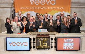 Veeva Systems Founder and CEO Peter Gassner rings the opening bell at the New York Stock Exchange to celebrate the company's IPO.