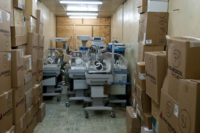 Equipment in a storage room at Hospital Escuela in Tegucigalpa, Honduras