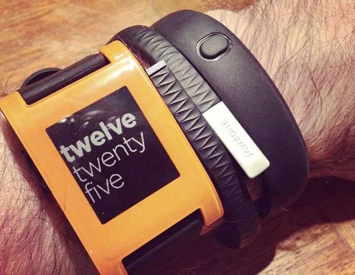 Pebble, FuelBand, and Jawbone Up, all on one wrist ...