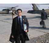 Refresh co-founder Bhavin Shah, with briefing book, on an airfield in Afghanistan in 2004.