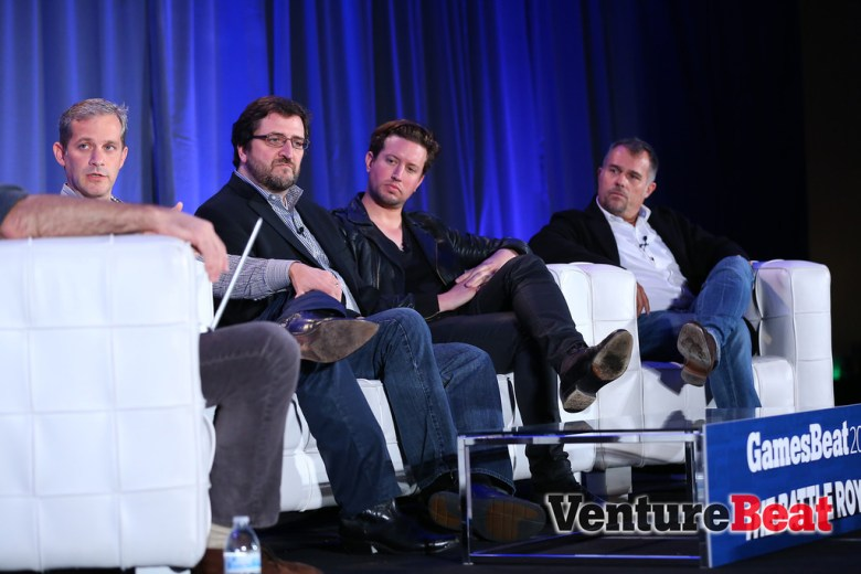 "Big Fish Games' Paul Thelen (far left), GameHouse VP of studios Ken Murphy (left), Betable CEO Chris Griffin (right), and Akamon CEO Vincenc Marti talked innovation, the weakness of traditional gambling giants, and that bugbear ""regulation"" at GamesBeat 2013"