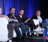 """Big Fish Games' Paul Thelen (far left), GameHouse VP of studios Ken Murphy (left), Betable CEO Chris Griffin (right), and Akamon CEO Vincenc Marti talked innovation, the weakness of traditional gambling giants, and that bugbear """"regulation"""" at GamesBeat 2013"""