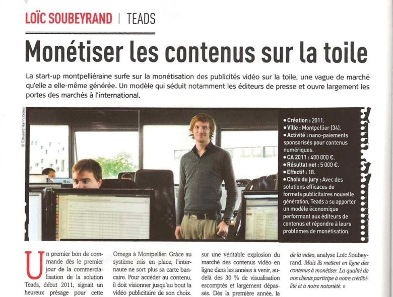 Teads CEO Loïc Soubeyrand featured for winning grand prize at Jeunne Posse 2012.