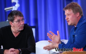 SimCity and The Sims creator Will Wright with Wargaming.net CEO Victor Kislyi at GamesBeat 2013 on Wednesday.