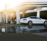 A Tesla supercharger station.