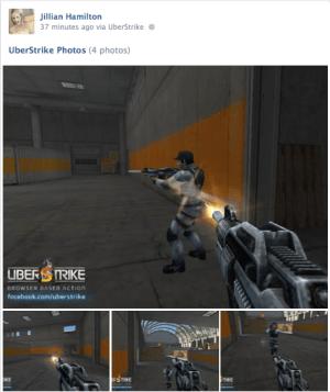 Cmune's Uberstrike uses Facebook's SDK to make screenshot sharing simple.
