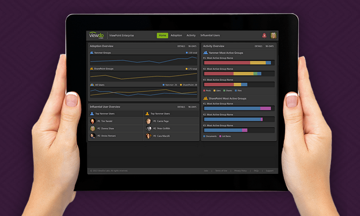 The ViewPoint Enterprise app tracks data across enterprise social networks