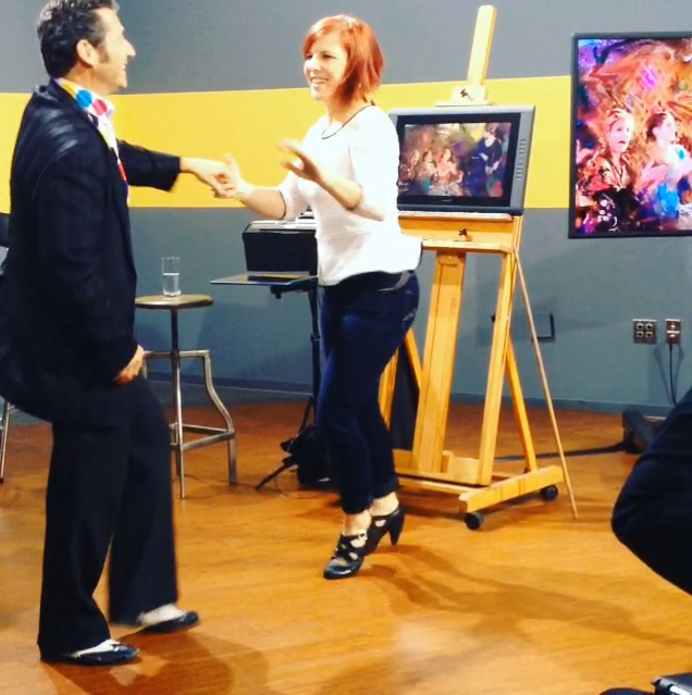 CreativeLive's dancing experts teaching students how to swing.
