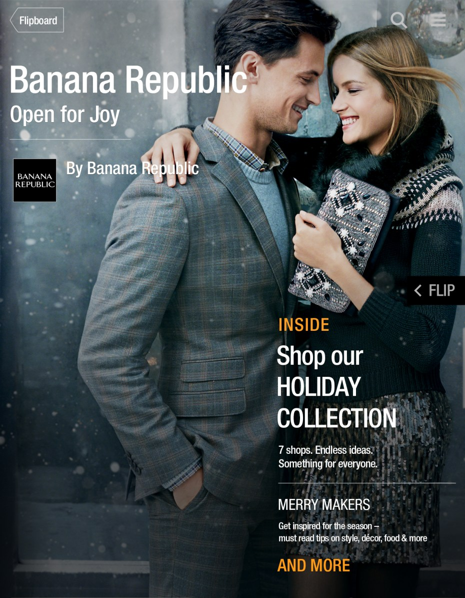 Banana Republic catalog cover within Flipboard.