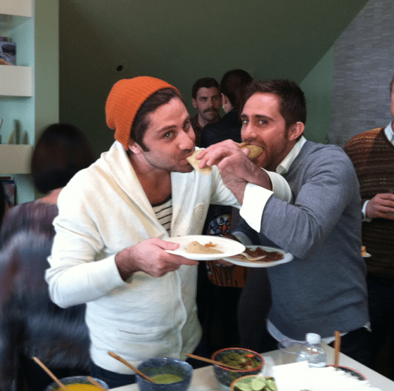 Cofounders Jared and Steve Rivera doing what they do best -- eat.