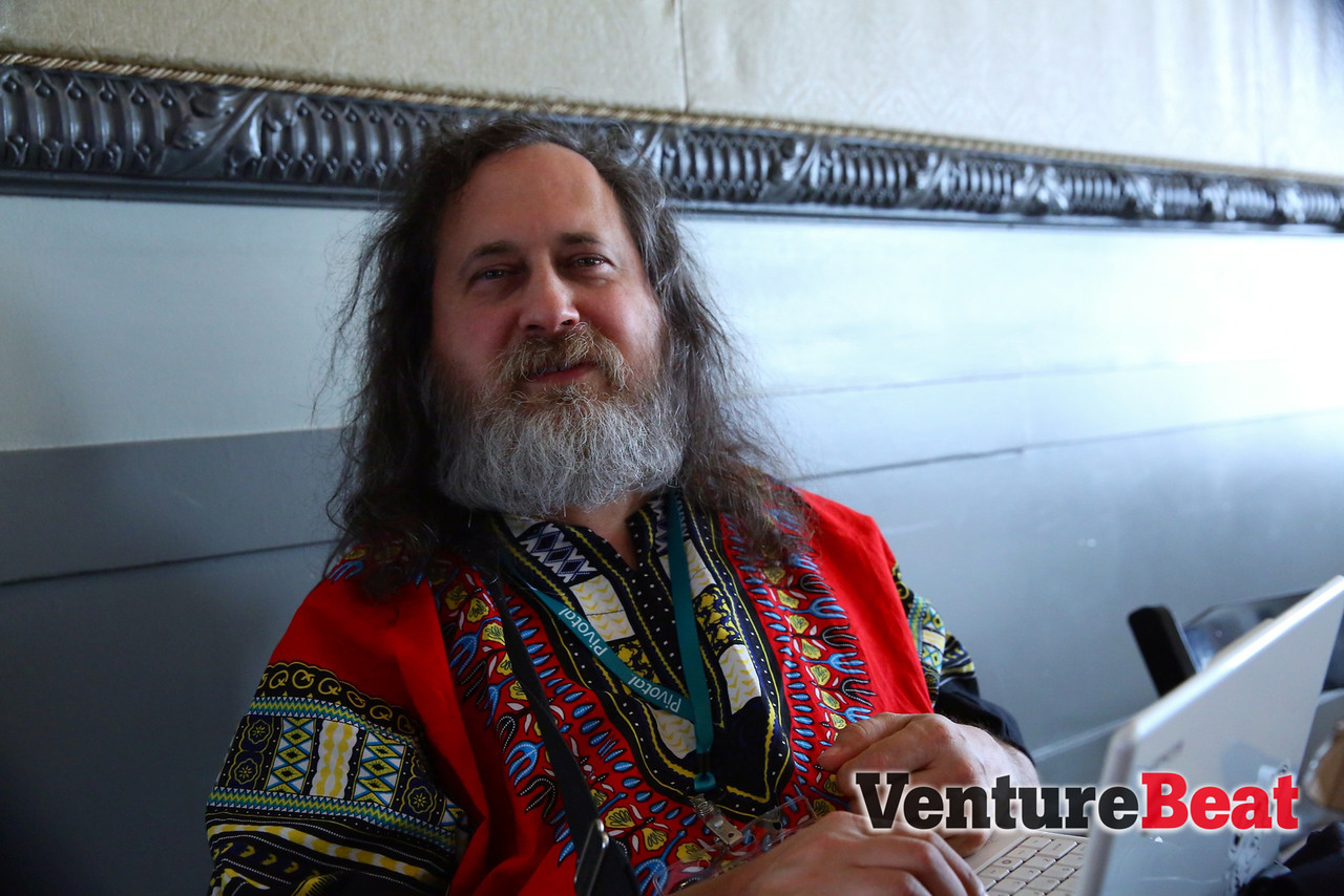 Dr. Richard Stallman holds down the fort at the Free Software Foundation table. If you missed out on the GNU-themed swag, go to FSF.org for more!