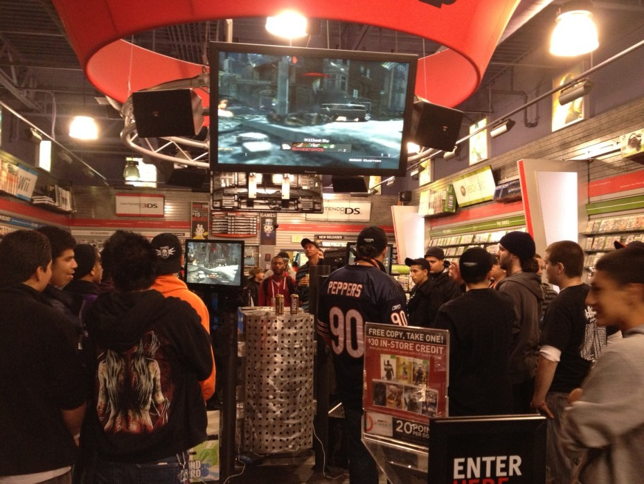 GameStop at midnight for the launch of a new game.