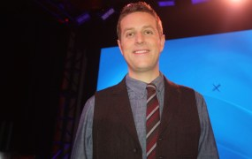 Geoff Keighley  at the launch of the PlayStation 4 in NYC.