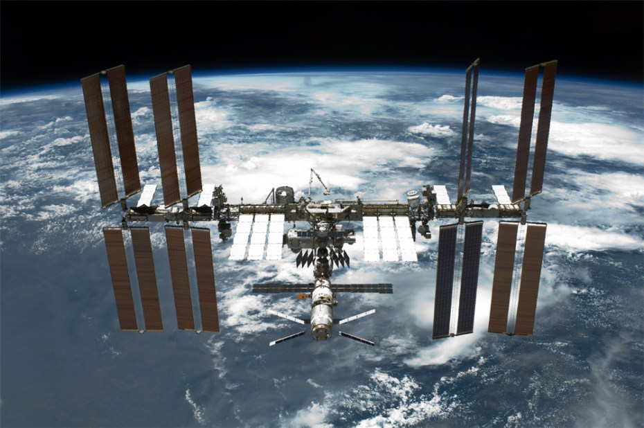 The International Space Station, as seen from Space Shuttle Endeavour in May 2011.