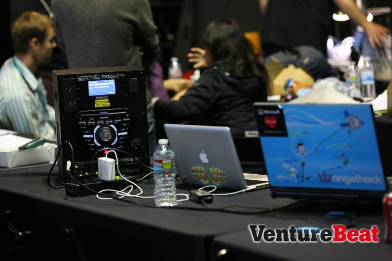 A Ford TDK -- a test unit that simulates the electronics of a car -- sits in the middle of the Makeathon at DevBeat 2013.