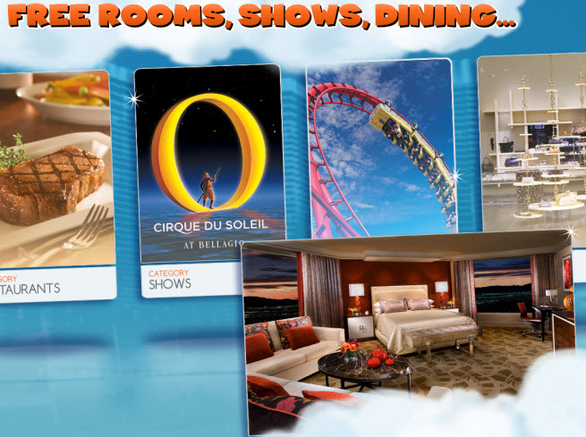 MyVegas rewards include free meals, shows, rides, and hotel rooms.