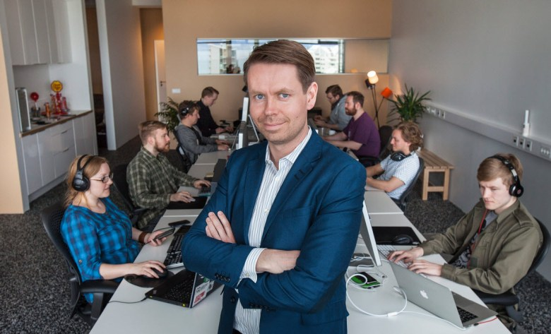 Plain Vanilla chief executive Thor Fridriksson with his team.