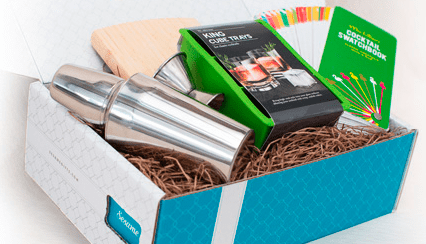 A blue Sesame gift box, from Sincerely