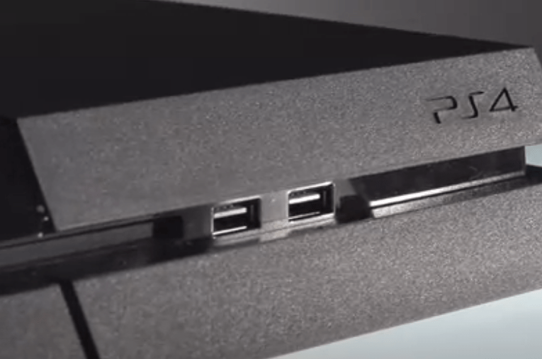 On the front of the PlayStation 4 are two USB 3.0 ports.