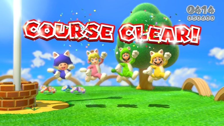 The cast of Super Mario 3D World in their cat suits.
