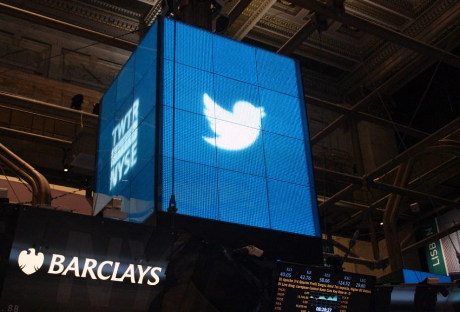 Twitter signage dominates the NYSE.