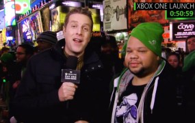 Xbox launch on Spike TV, where Geoff Keighley (right) interviews the first person to get an Xbox One at the New York City launch event.