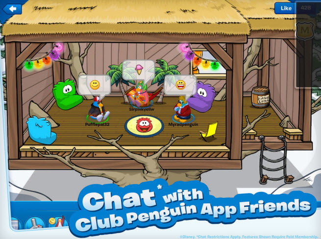 Club Penguin app chat on the iPad
